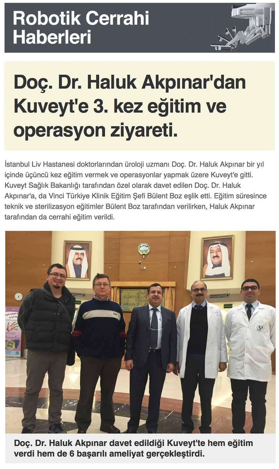 Kuveyt'te Robotik Cerrahi Eğitimi